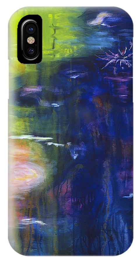 Abstract IPhone X Case featuring the painting In The Flow by Tara Moorman