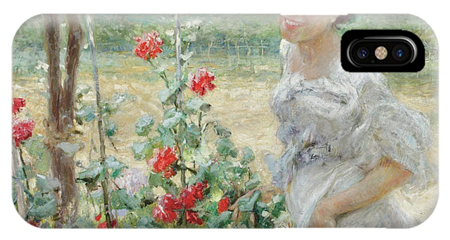 Flower IPhone X Case featuring the painting In The Flower Garden, 1899 by Umberto Veruda
