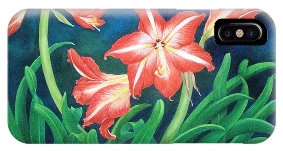 Realism Still Life Lillies Florals Red IPhone X Case featuring the painting In The Garden Of The Heart by Janet Summers-Tembeli