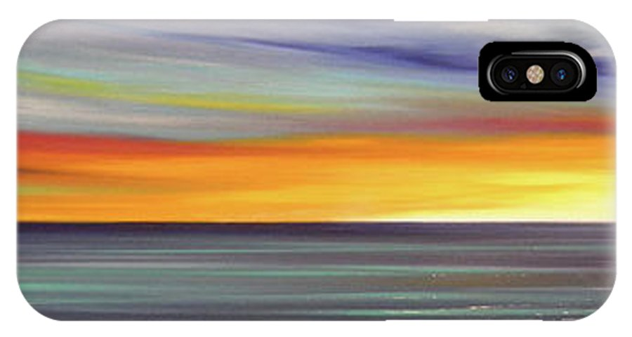 Sunset IPhone X Case featuring the painting In The Moment Panoramic Sunset by Gina De Gorna
