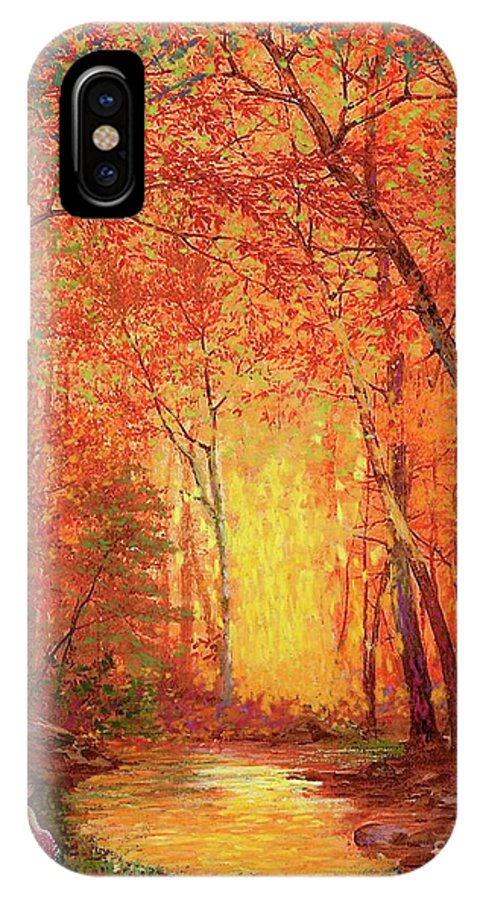 Meditation IPhone X Case featuring the painting In The Presence Of Light Meditation by Jane Small