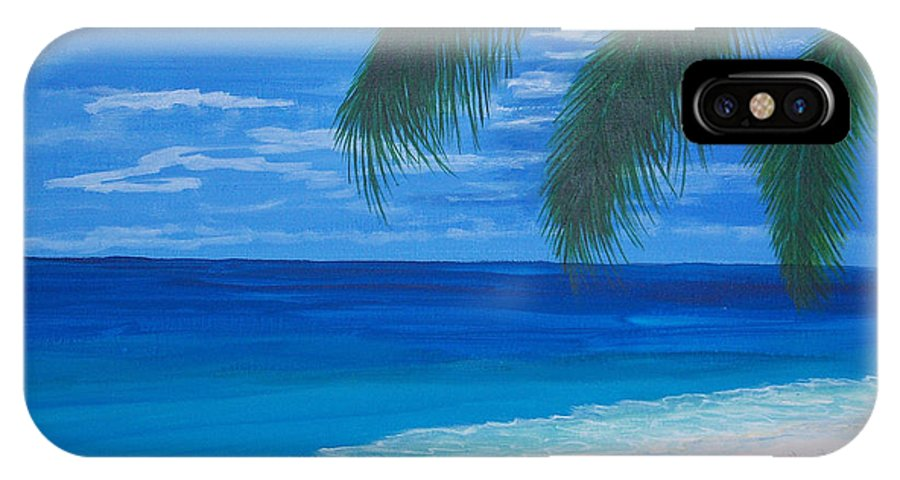 Palm IPhone X Case featuring the painting In The Shade Of A Palm by Nancy Nuce