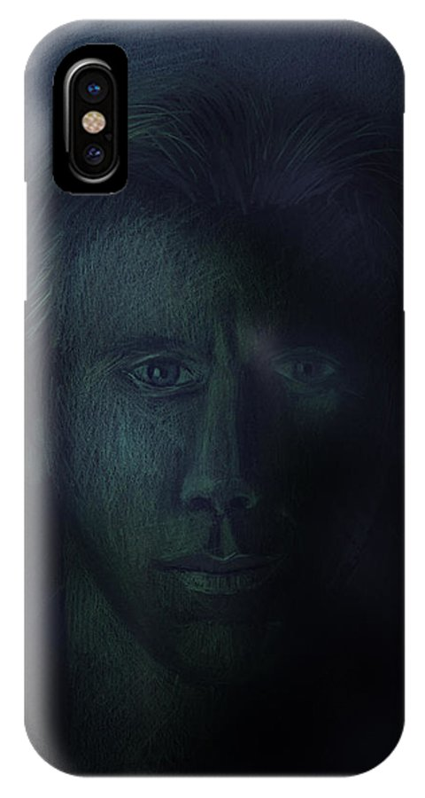 Dark IPhone X Case featuring the pastel In The Shadows Of Despair by Arline Wagner
