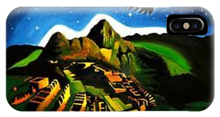 Machu Picchu IPhone X Case featuring the painting Inca's Trilogy II by Gustavo Oliveira