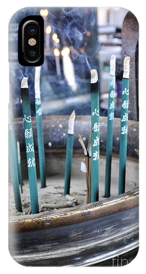 Japanese IPhone X / XS Case featuring the photograph Incense In Nara by Andy Smy