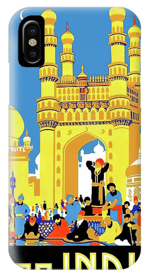 India IPhone X Case featuring the painting India, Castle, People, Street by Long Shot