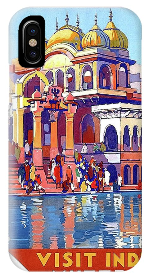 India IPhone X Case featuring the painting India, Indian State Railway Poster, Muttra by Long Shot