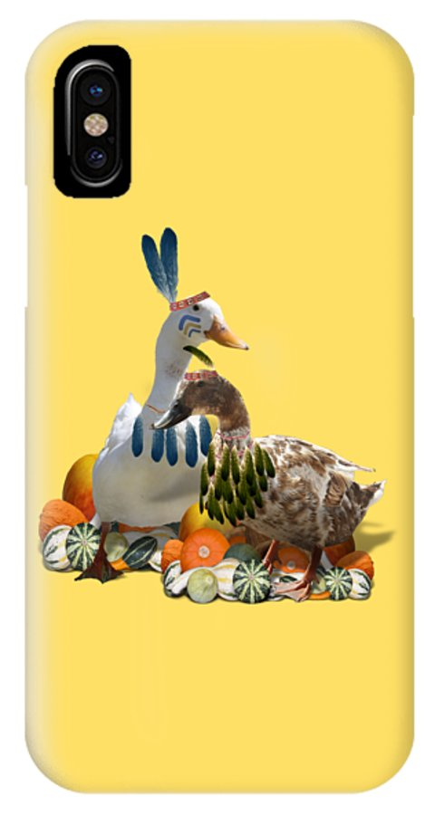 Thanksgiving IPhone X Case featuring the mixed media Indian Ducks by Gravityx9 Designs