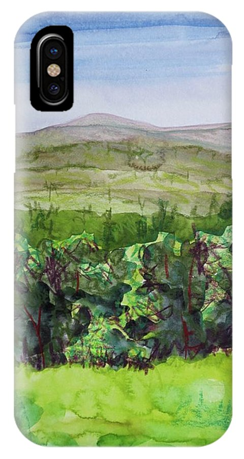 Hour Pond Mountain IPhone X Case featuring the painting Hour Pond Mountain, Indian Lake Overlook Panorama 2 by Bethany Lee