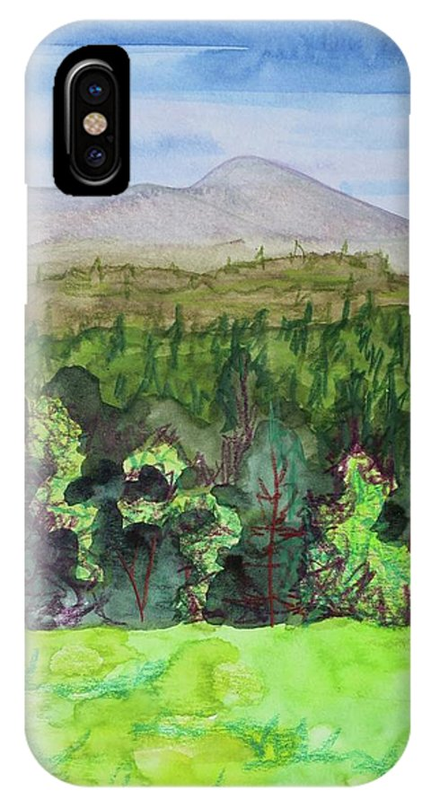 Bullhead Mountain IPhone X Case featuring the painting Bullhead Mountain, Indian Lake Overlook Panorama 3 by Bethany Lee