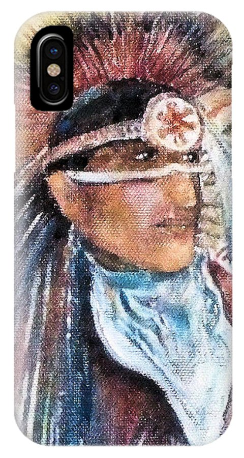Oklahoma IPhone X Case featuring the painting Indian Portrait by Linda Shackelford
