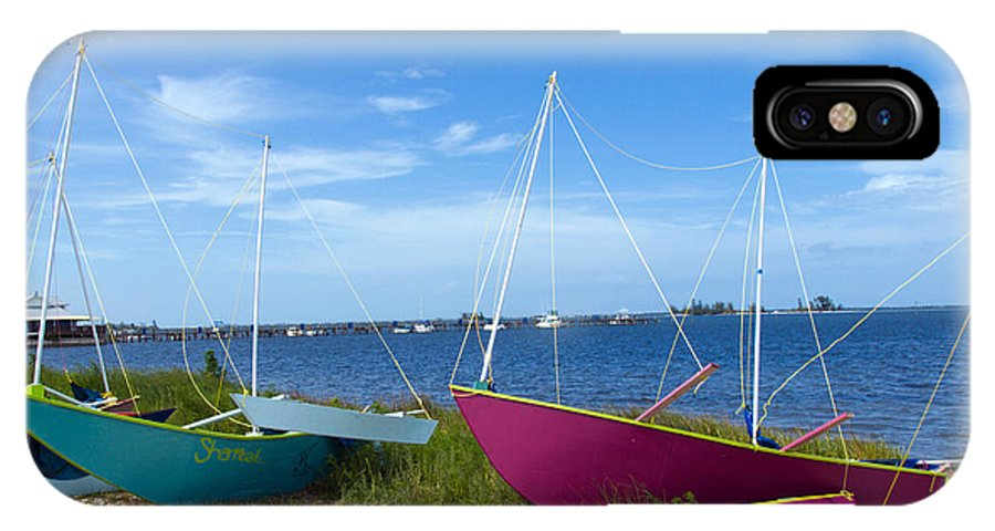 Sail; Sailing; Boat; Sailboat; Mast; Plywood; Homemade; Boy; Scouts; Fleet; Class; Dragon; Tiller; F IPhone X Case featuring the photograph Indian River Lagoon On The Easr Coast Of Florida by Allan Hughes