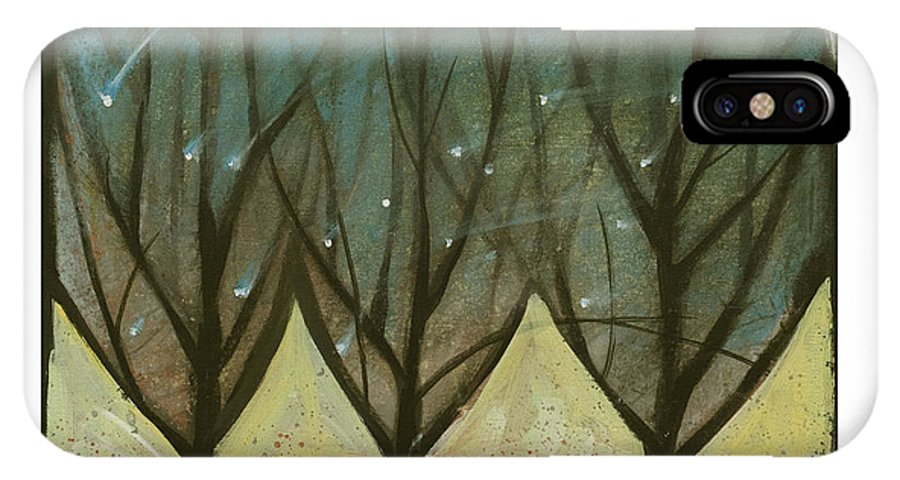 Trees IPhone Case featuring the painting Indian Summer Snow by Tim Nyberg