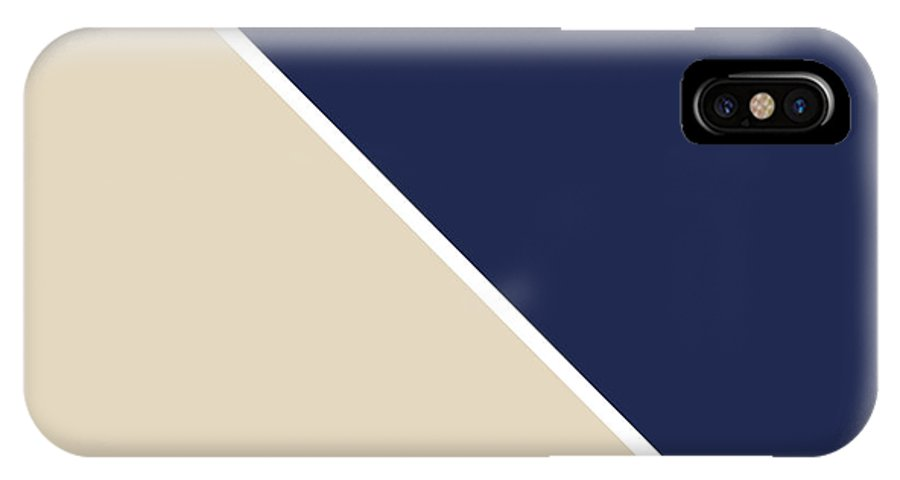Blue IPhone X Case featuring the digital art Indigo And Sand Geometric by Linda Woods