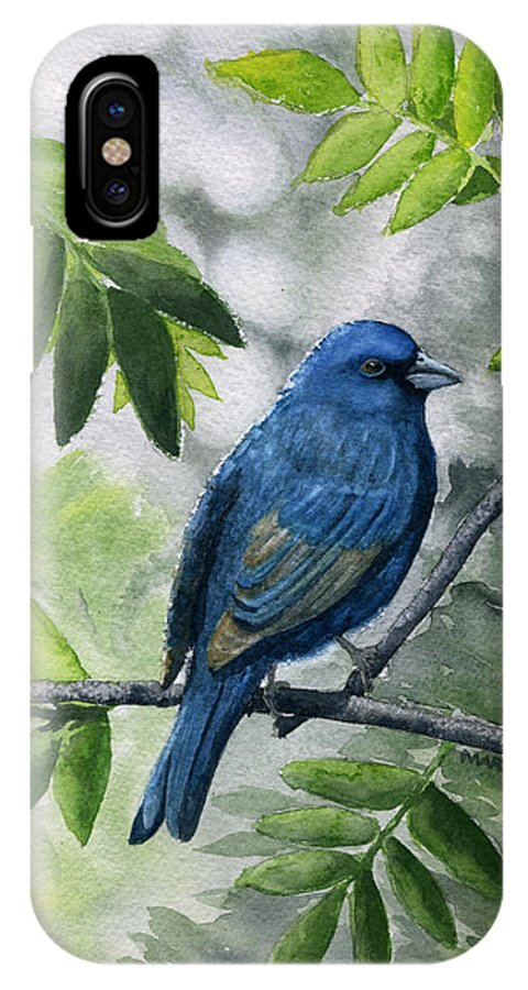 Blue IPhone X Case featuring the painting Indigo Bunting by Mary Tuomi