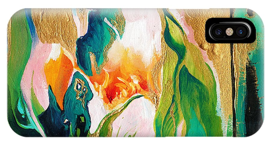 Lin Petershagen IPhone X Case featuring the painting Indigold by Lin Petershagen