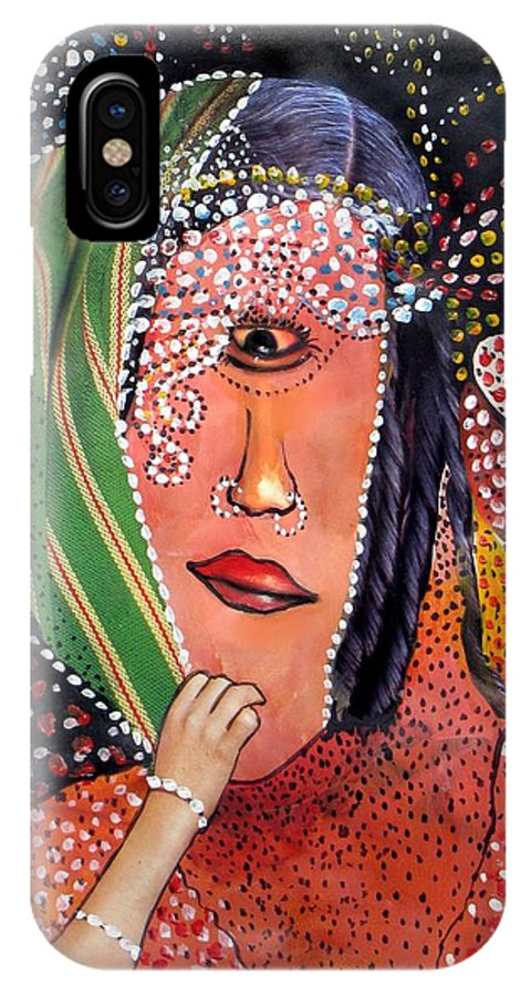 Woman IPhone X Case featuring the mixed media Indra by Veronica Jackson