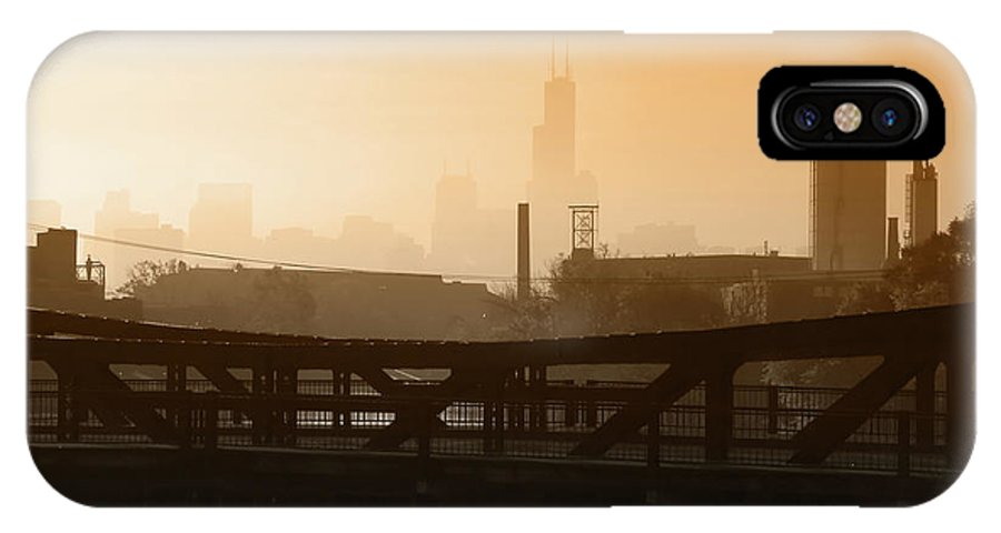 Chicago IPhone X Case featuring the photograph Industrial Foggy Chicago Skyline by Bruno Passigatti