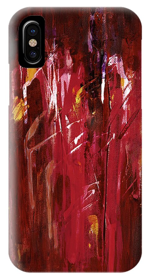 Abstract IPhone X Case featuring the painting Initiation by Tara Moorman