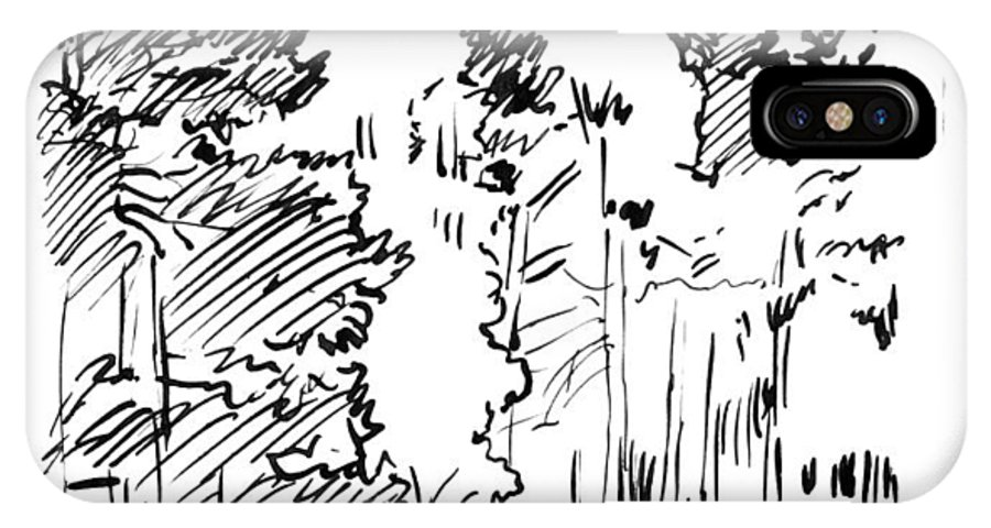 Ink Sketch IPhone X Case featuring the drawing Ink Sketch of Rocky Mountains by John Lautermilch
