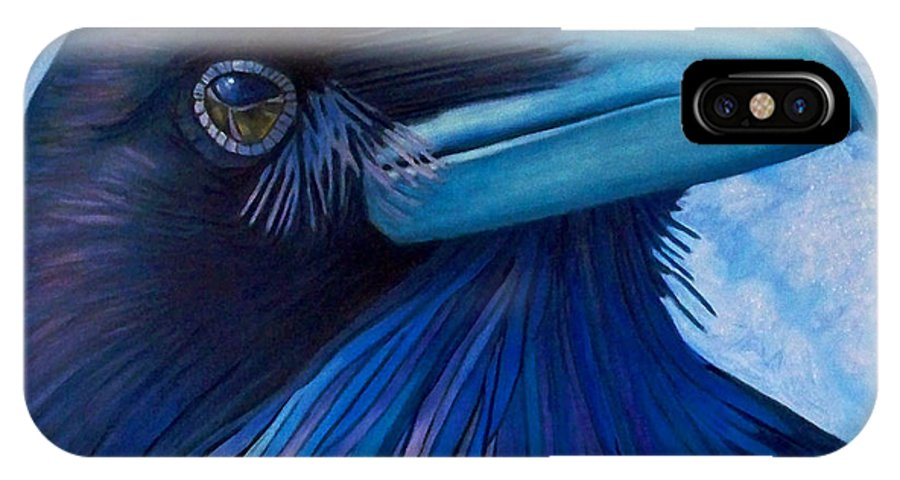 Raven IPhone X Case featuring the painting Inner Knowing by Brian Commerford