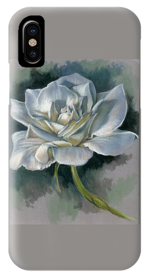 Rose IPhone X Case featuring the mixed media Innocence by Barbara Keith
