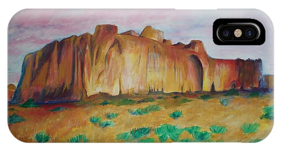 Western Landscapes IPhone X Case featuring the painting Inscription Rock by Eric Schiabor