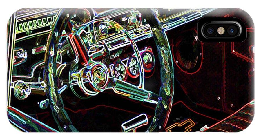 Inside Of A Classic Car IPhone X Case featuring the painting Inside Of A Classic Car by Jeelan Clark