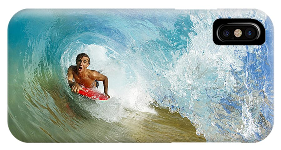 Action IPhone X Case featuring the photograph Inside Wave Tube by MakenaStockMedia - Printscapes