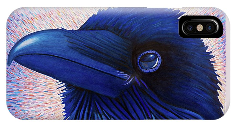 Raven IPhone X Case featuring the painting Inspiration by Brian Commerford