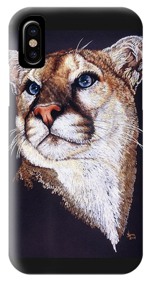 Cougar IPhone X Case featuring the drawing Intense by Barbara Keith
