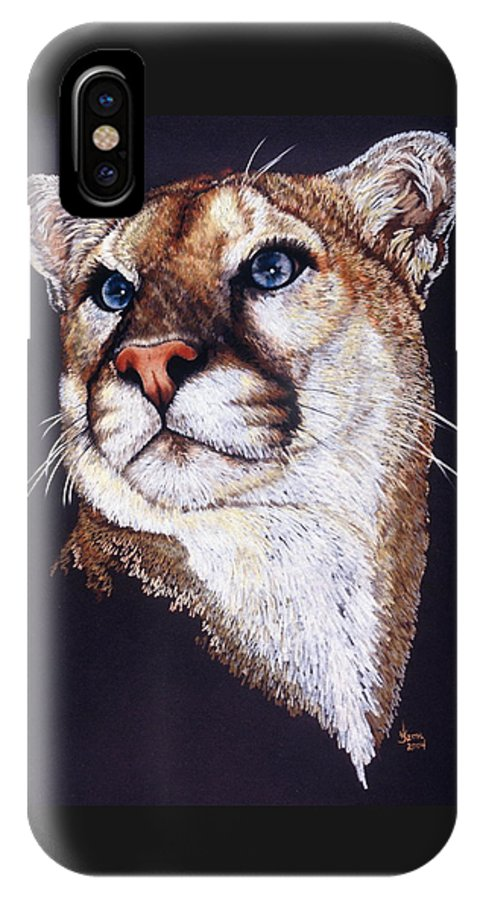 Cougar IPhone X / XS Case featuring the drawing Intense by Barbara Keith