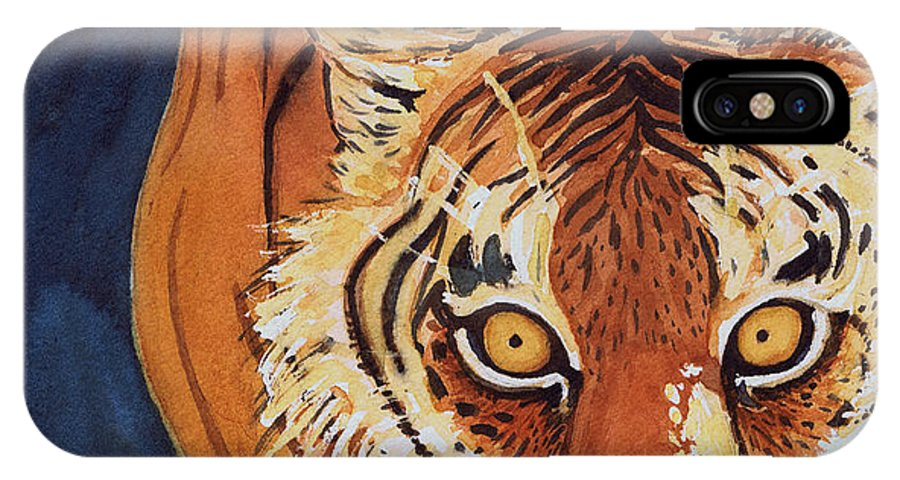 Tiger IPhone X Case featuring the painting Intention by Michele Ross