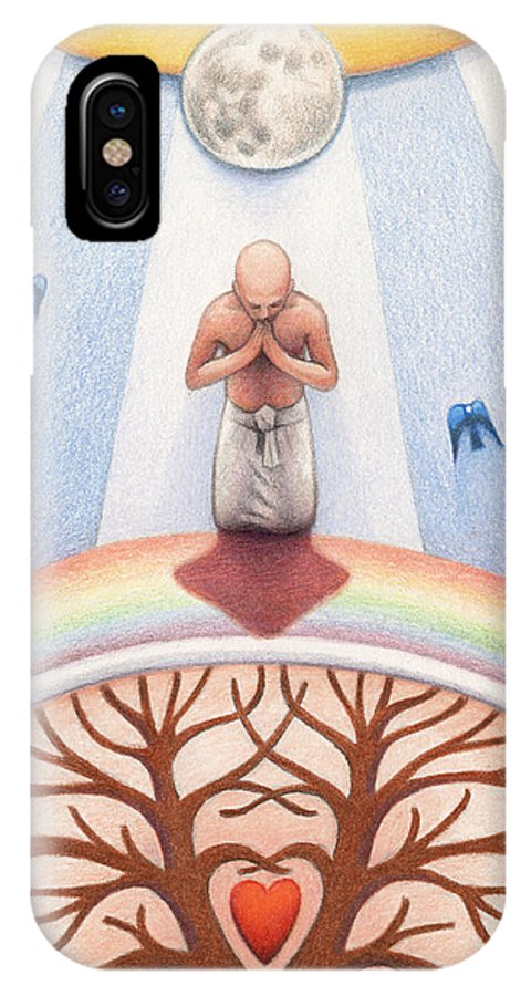 Sun IPhone X Case featuring the drawing Intercessory Circle by Amy S Turner