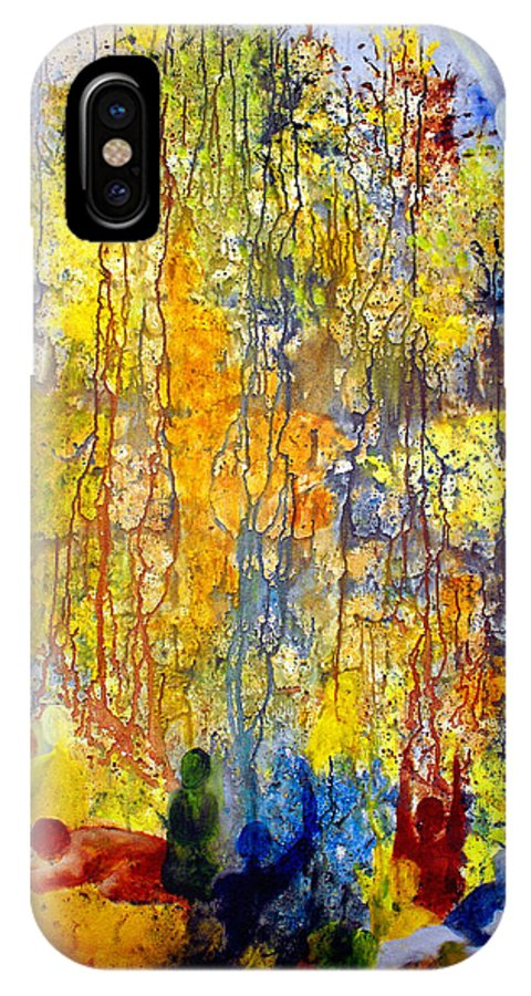 Abstract IPhone X Case featuring the painting Intercessory Prayers by Ruth Palmer