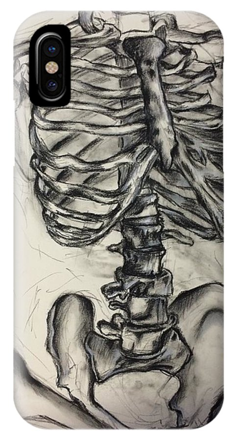 Skeleton IPhone X Case featuring the drawing Interior by Caitlin Mitchell