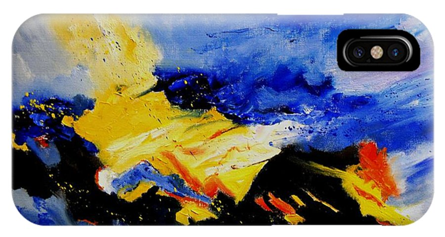 Abstract IPhone X Case featuring the painting Interstellar Overdrive 2 by Pol Ledent