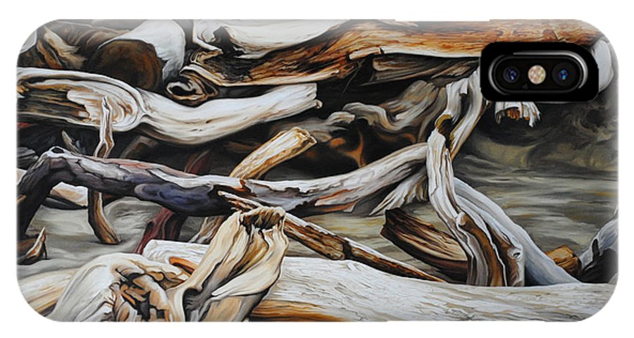 Driftwood IPhone X Case featuring the painting Intertwined by Chris Steinken