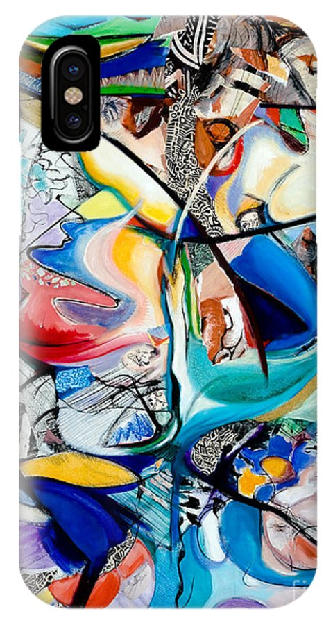 Abstract IPhone X Case featuring the painting Intimate Glimpses - Journey Of Life by Kerryn Madsen-Pietsch