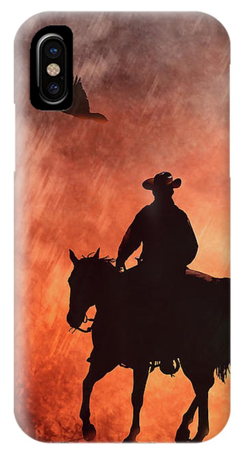 Horse IPhone X Case featuring the photograph Into The Fire. by Robbin Siembieda