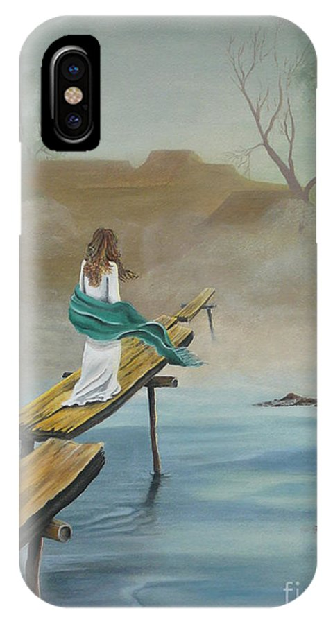 Water IPhone X Case featuring the painting Into The Mist by Kris Crollard