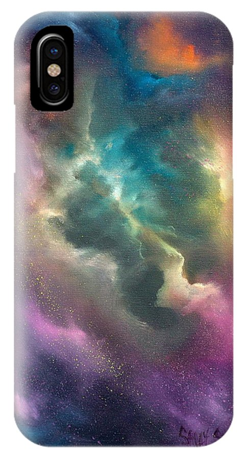 Celestial IPhone X Case featuring the painting Into The Unknown by Sally Seago