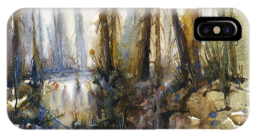 Watercolors IPhone X Case featuring the painting Into The Woods by Kristina Vardazaryan
