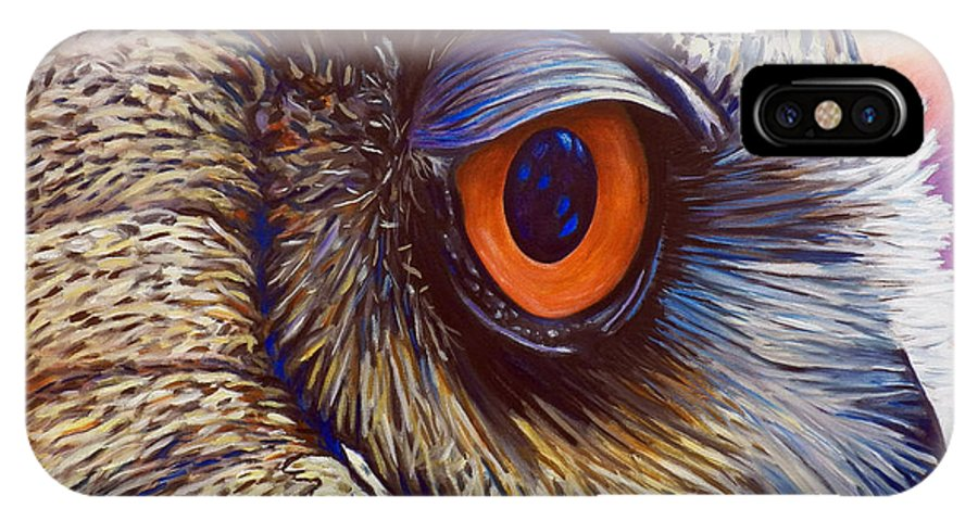 Owl IPhone X Case featuring the painting Introspection by Brian Commerford