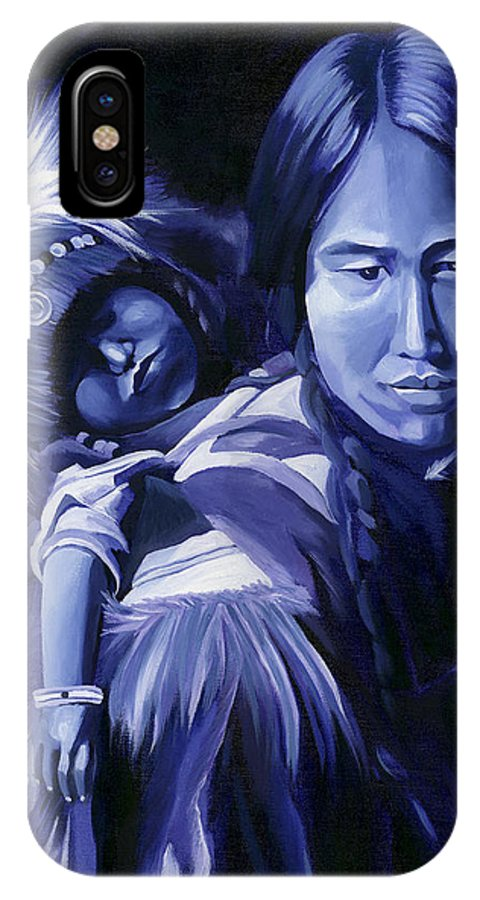 Native American IPhone X Case featuring the painting Inuit Mother And Child by Nancy Griswold