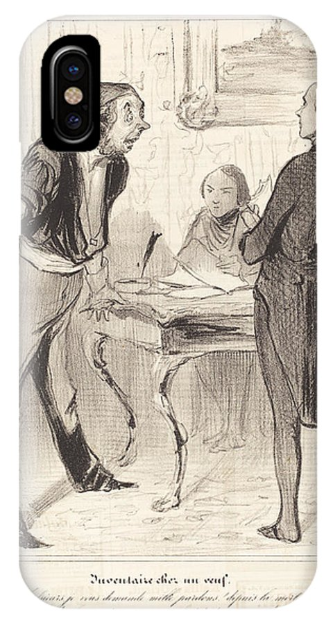 IPhone X Case featuring the drawing Inventaire Chez Un Veuf by Honor? Daumier