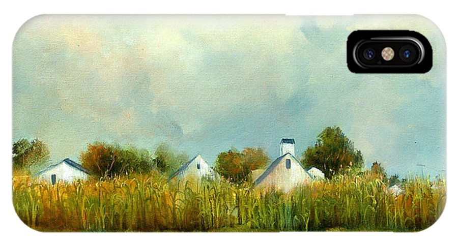 Farm IPhone X Case featuring the painting Iowa Cornfields by Sally Seago