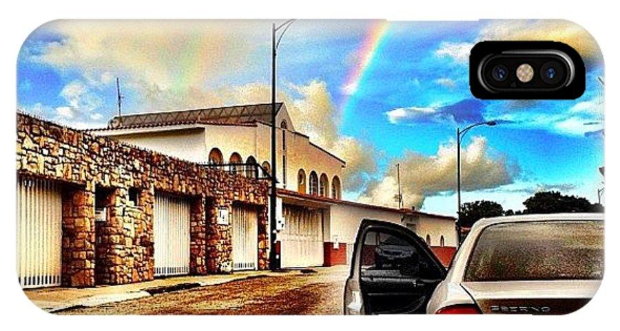 Popularpics IPhone X Case featuring the photograph #iphone # Rainbow by Estefania Leon