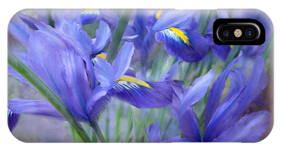 Iris IPhone X Case featuring the mixed media Iris Bouquet by Carol Cavalaris
