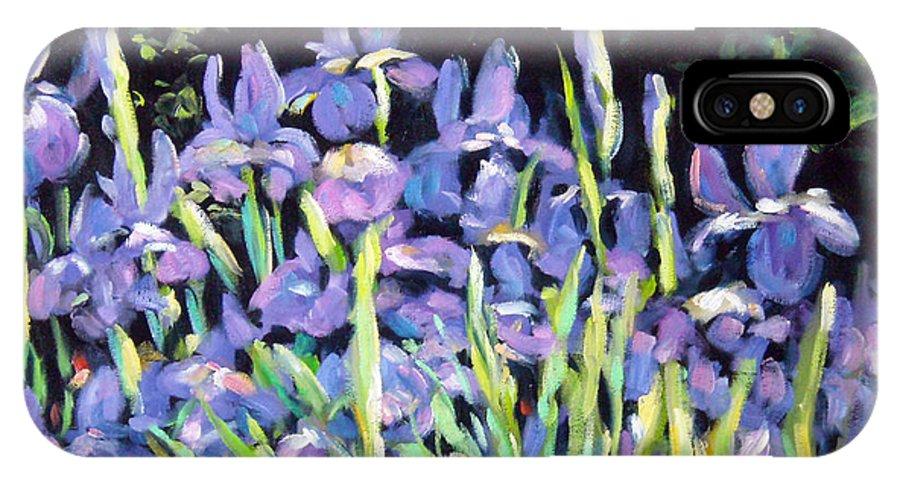 Art IPhone X Case featuring the painting Iris En Folie by Richard T Pranke